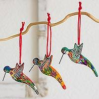 Ceramic ornaments, 'Hummingbird Squadron' (set of 6) - 6 Ceramic Ornaments Hummingbird Handcrafted in Guatemala