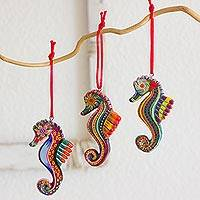 Featured review for Ceramic ornaments, Seahorse Squadron (set of 6)