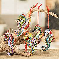Ceramic ornaments, 'Seahorse Squadron' (set of 6)