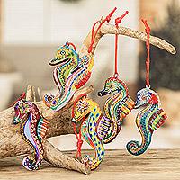 Ceramic ornaments, 'Seahorse Squadron' (set of 6) - Set of 6 Ceramic Seahorse Ornaments Handmade in Guatemala