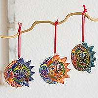 Ceramic ornaments, 'Flower Eclipse' (set of 6) - Six Colorful Handcrafted Ceramic Eclipse Ornaments