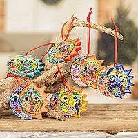 Ceramic ornaments, 'Flower Eclipse' (set of 6)