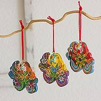 Ceramic ornaments, 'Floral Octopus' (set of 6)