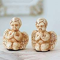 Marble dust figurines, 'Little Angels at Prayer' (pair) - Set of Two 3-Inch Marble Dust Angel Figurines