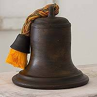Ceramic sculpture, 'Silent Bell' - Artisan Crafted 10-Inch Bell Shaped Ceramic Sculpture