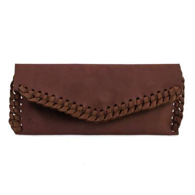 Artisan Crafted Brown Leather Clutch Purse with Lacings