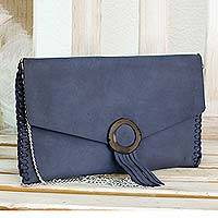 Leather clutch or shoulder bag, 'Azure Versatility' - Blue Leather Shoulder Bag or Clutch Purse from El Salvador