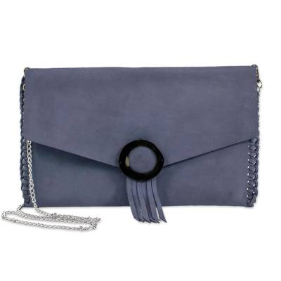 Novica Leather wristlet bag, Losari Horizon