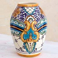 Ceramic vase, 'Lirio Acuatico' (small) - Artisan Crafted Floral Ceramic Vase from Guatemala (Small)