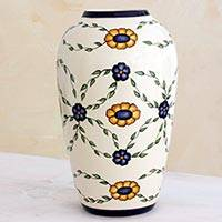 Ceramic vase, 'Margarita Garland' (medium) - Artisan Crafted Floral Ceramic Vase (Medium)