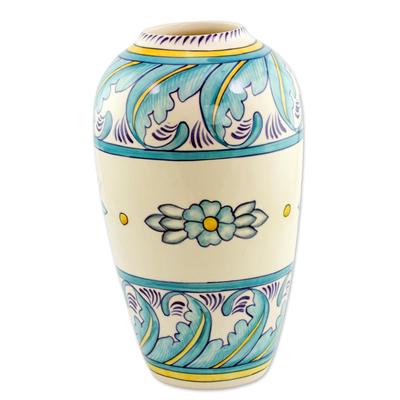 Ceramic vase, 'Bermuda' (medium) - Artisan Crafted Floral Ceramic Vase (Medium)