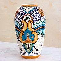 Ceramic vase, 'Lirio Acuatico' (medium) - Hand Crafted Floral Ceramic Vase from Guatemala (Medium)