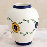 Ceramic vase, 'Margarita' - Artisan Crafted Ceramic Vase with Floral Motif