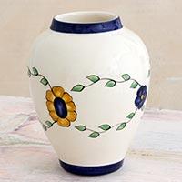 Ceramic vase, 'Margarita' - Artisan Crafted Ceramic Vase with Floral Motif