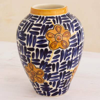 Ceramic vase, 'Lirio Acuatico Azul' - Hand Crafted Ceramic Vase with Floral Motif