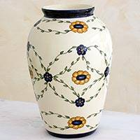 Ceramic vase, 'Margarita Garland' (Large) - Hand Crafted Ceramic Vase with Floral Motif (Large)