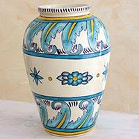 Ceramic vase, 'Bermuda' (large) - Artisan Crafted Floral Ceramic Vase (Large)