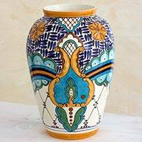 Ceramic vase, 'Lirio Acuatico' (large) - Hand Crafted Floral Ceramic Vase from Guatemala (Large)