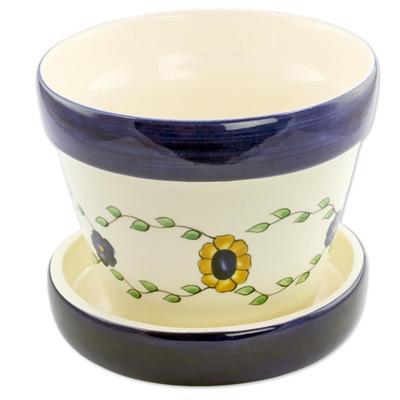 Ceramic flower pot, 'Margarita' - Artisan Crafted Ceramic Flower Pot with Saucer