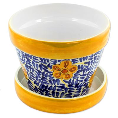Ceramic flower pot, 'Lirio Acuatico' - Artisan Crafted Ceramic Flower Pot from Guatemala
