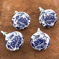 Ceramic knobs, 'Capuchinas' (set of 4) - Artisan Crafted Ceramic Floral Drawer Pulls (Set of 4)