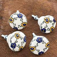 Ceramic knobs, 'Margarita' (set of 4) - Artisan Crafted Ceramic Floral Knobs (Set of 4)