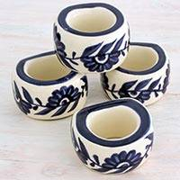 Ceramic napkin rings, 'Girasol' (set of 4) - Artisan Crafted Ceramic Floral Napkin Rings (Set of 4)