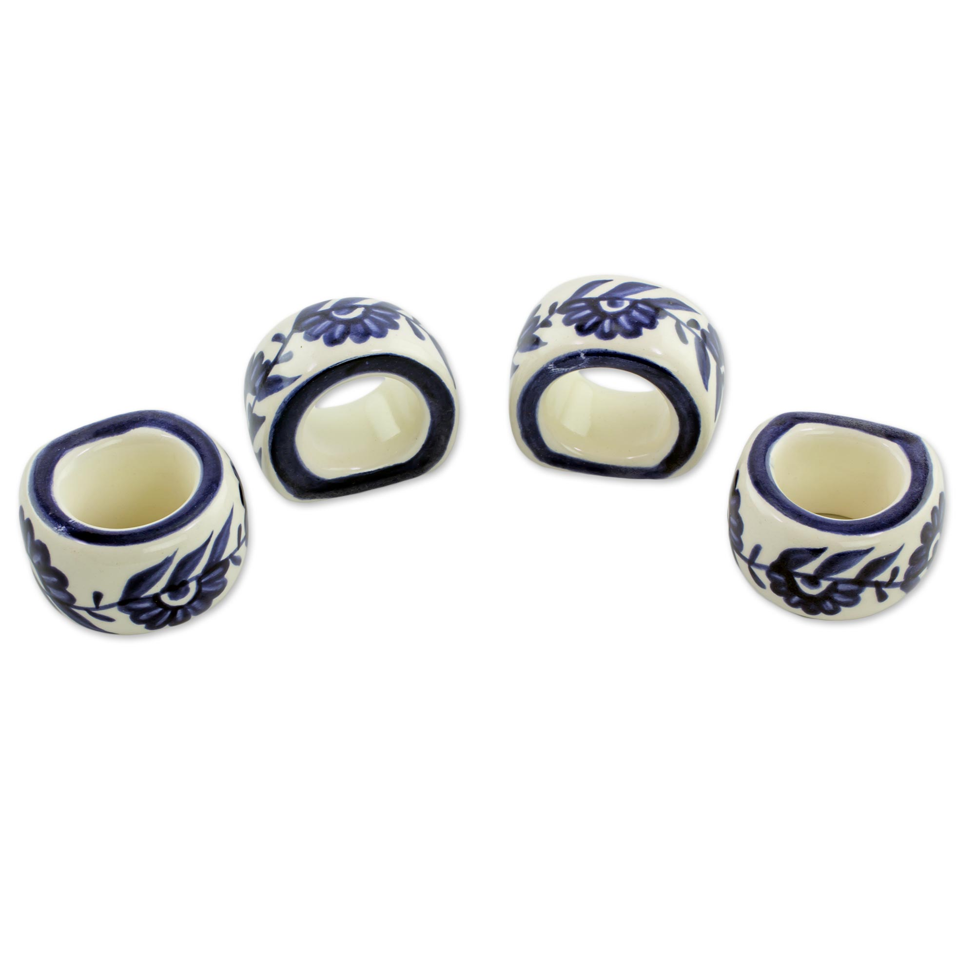 Unicef Uk Market Artisan Crafted Ceramic Floral Napkin Rings Set Of 4 Girasol