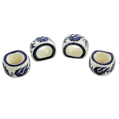 Ceramic napkin rings, 'Girasol' (set of 4) - Artisan Crafted Ceramic Floral Napkin Rings (Set of 4)