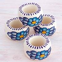 Ceramic napkin rings, 'Bermuda' (set of 4) - Artisan Crafted Floral Ceramic Napkin Rings (Set of 4)