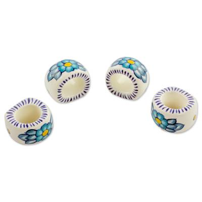 Ceramic napkin rings, 'Bermuda' (set of 4) - Artisan Crafted Floral Ceramic Napkin Rings (Set of 4)