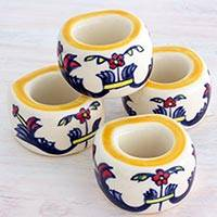 Ceramic napkin rings, 'Wild Flowers' (set of 4) - Artisan Crafted Floral Ceramic Napkin Rings (Set of 4)