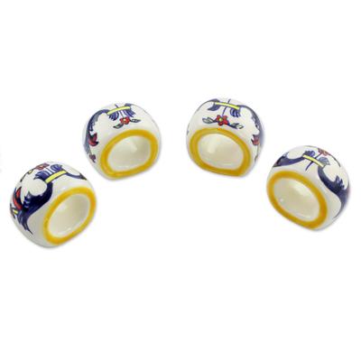 Ceramic napkin rings, 'Wild Flowers' (set of 4) - Artisan Crafted Floral Ceramic Napkin Rings (Set of 4)