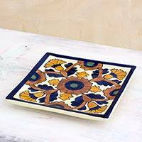 Ceramic trivet, 'Colonial Marigold' - Handcrafted Blue and Yellow Ceramic Hot Pad Trivet