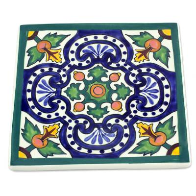 Ceramic trivet, 'Colonial Fountain' - Guatemalan Handcrafted Ceramic Colonial Hot Pad Trivet