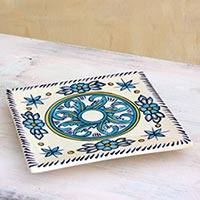 Ceramic trivet, 'Quehueche' - Turquoise and White Handcrafted Ceramic Hot Pad Trivet