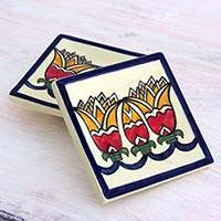 Small ceramic dessert plates, 'Lirios' (pair) - 2 Artisan Crafted Ceramic Dessert Plates with Floral Motif
