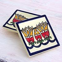 Small ceramic dessert plates, 'Lirios' (pair) - 2 Artisan Crafted Ceramic Dessert Plates with Floral Motif