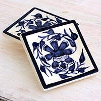 Small ceramic dessert plates, 'Capuchinas' (pair) - Artisan Crafted Floral Ceramic Dessert Plates (Pair)