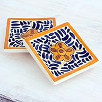 Small ceramic dessert plates, 'Lirio Acuatico' (pair) - Artisan Crafted Floral Ceramic Dessert Plates (Pair)