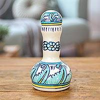 Ceramic oil dispenser, 'Bermuda' - Artisan Crafted Ceramic Oil Dispenser with Floral Motif