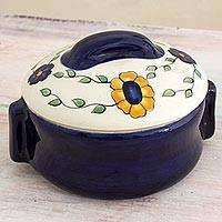 Ceramic covered sauce dish, 'Margarita' - Daisy Theme Ceramic Covered Sauce Dish from Guatemala