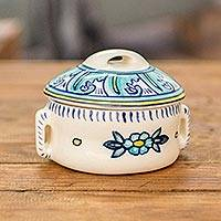 Ceramic soup bowl with lid, 'Bermuda' - Artisan Crafted Floral Ceramic Soup Bowl with Lid
