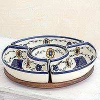 Ceramic appetizer dish, 'Margarita' - Artisan Crafted Floral appetiser Platter with Wood Base