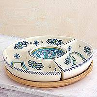 Ceramic appetizer dish, 'Bermuda' - Artisan Crafted Floral Appetizer Platter with Wood Base