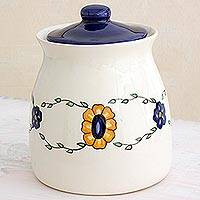 Ceramic jar, 'Margarita' (large) - Artisan Crafted Floral Ceramic Jar with Lid (Large)