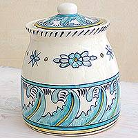 Ceramic jar, 'Bermuda' (large) - Hand Crafted Ceramic Jar with Floral and Leaf Motif (Large)