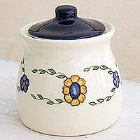 Ceramic jar, 'Margarita' (medium) - Artisan Crafted Floral Ceramic Jar with Lid (Medium)