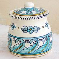 Ceramic jar, 'Bermuda' (medium) - Hand Crafted Ceramic Jar with Floral and Leaf Motif (Medium)