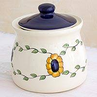 Ceramic jar, 'Margarita' (small) - Artisan Crafted Floral Ceramic Jar with Lid (Small)